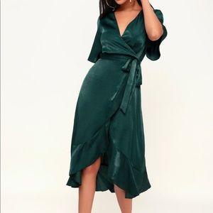 Lulus Satin Wrap Midi Dress